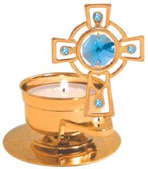Cross T-Lite Holder w/Swarovski Element Crystal