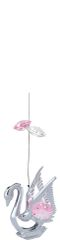 Chrome Plated Swan 2 Tiers Ornament w/Pink Swarovski Element Crystal
