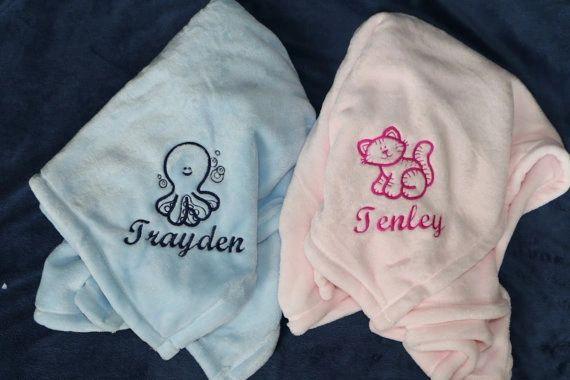 Personalized Embroidered Baby Blanket Great Baby Gift Embroidery A