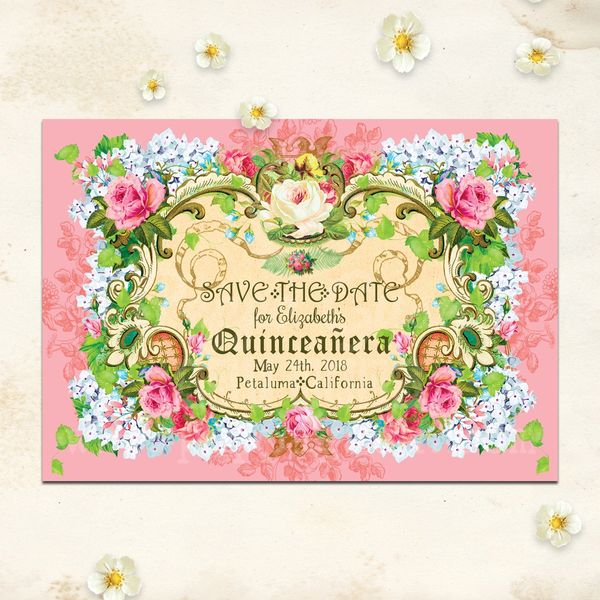 Quinceanera save the datesave the date quinceanera vintage trs chic quinceaera save the date flat card or magnet completely personalizable m4hsunfo