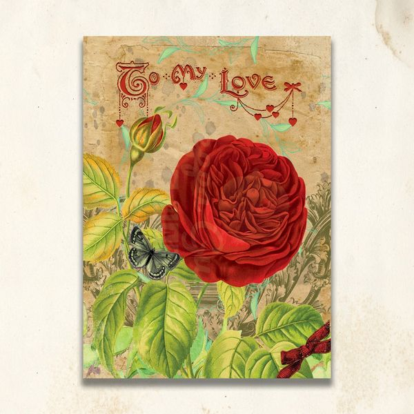 Red rose personalized vintage valentine cardpersonalized vintage single red hot rose vintage inspired valentine flat card personalizable m4hsunfo