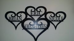Custom made family hearts 4 names