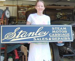 980 Stanley Motor Car Sign, Bronze on Black