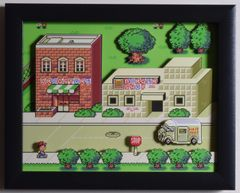 """EarthBound (SNES) - """"Onett"""" 3D Video Game Shadow Box with Glass Frame 10 x 12.5 inches"""