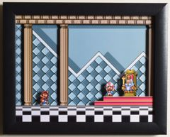 """Super Mario All Stars (SNES) - """"The Throne Room"""" 3D Video Game Shadow Box with Glass Frame 10 x 12.5 inches"""