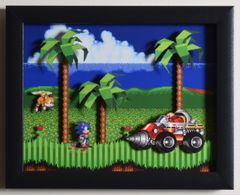 """Sonic The Hedgehog 2 (Genesis) - """"Emerald Hill Zone"""" 3D Video Game Shadow Box with Glass Frame 10 x 12.5 inches"""