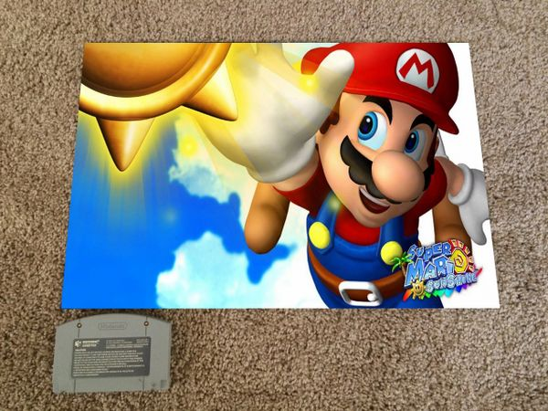 Super Mario Sunshine Poster 18x12 In Nintendo Poster Game Case