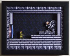 """Super Metroid (SNES) - """"The Chozo"""" 3D Video Game Shadow Box with Glass Frame 10 x 12.5 inches"""