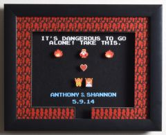 """CUSTOMIZABLE Legend of Zelda (NES) - """"It's Dangerous To Go Alone"""" 3D Video Game Shadow Box with Glass Frame 10 x 12.5 inches"""