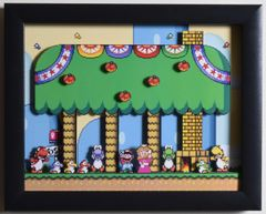 """Super Mario World (SNES) - """"Yoshi's House"""" 3D Video Game Shadow Box with Glass Frame 10 x 12.5 inches"""