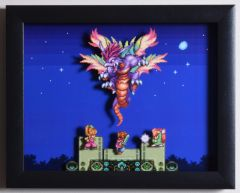 """Secret of Mana (SNES) - """"The Mana Beast"""" 3D Video Game Shadow Box with Glass Frame 10 x 12.5 inches"""