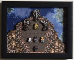 """Final Fantasy III (SNES) - """"The Floating Continent"""" 3D Video Game Shadow Box with Glass Frame 10 x 12.5 inches"""