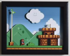 """Super Mario All Stars (SNES) - """"The Castle"""" 3D Video Game Shadow Box with Glass Frame 10 x 12.5 inches"""