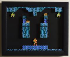 """Metroid (NES) - """"Brinstar"""" 3D Video Game Shadow Box with Glass Frame 10 x 12.5 inches"""