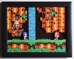 """Sonic The Hedgehog 3 (Genesis) - """"Sonic & Knuckles"""" 3D Video Game Shadow Box with Glass Frame 10 x 12.5 inches"""