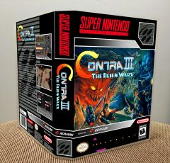 Contra III: The Alien Wars SNES Game Case with Internal Artwork