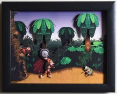 """Donkey Kong Country (SNES) - """"Jungle Hijinks"""" 3D Video Game Shadow Box with Glass Frame 10 x 12.5 inches"""