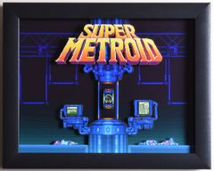 """Super Metroid (SNES) - """"Title Screen"""" 3D Video Game Shadow Box with Glass Frame 10 x 12.5 inches"""
