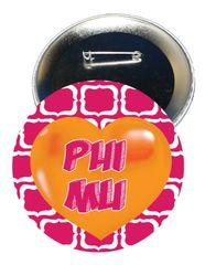 Phi Mu Heart Button
