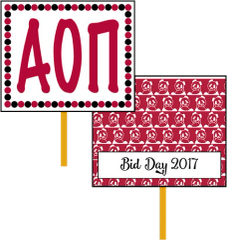 Alpha Omicron Pi Bid Day Hand Fan