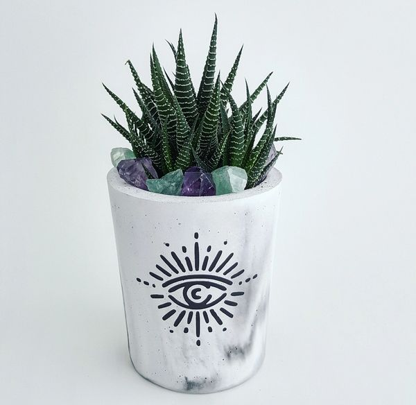 Cement Planter - Evil Eye