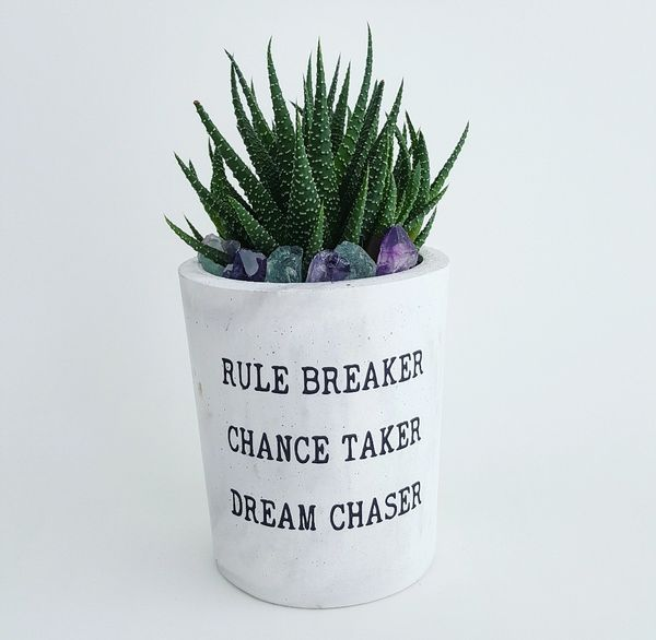 Cement Planter - Rule Breaker, Chance Taker, Dream Chaser