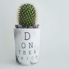 Cement Planter - Eye Chart - Don't Be A Prick