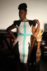 JAX Cap Sleeve Linear Pattern Dress