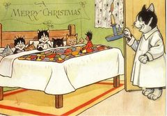 The Night Before Christmas. Cute Vintage Cat Illustration Christmas Card