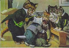 Learning the Facts of Mice. Vintage Illustration Greeting Card of Cats in School.