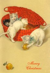 £1 Christmas Card!!! 'The Red Basket' Vintage Cat Christmas Card Repro.