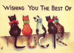 Tails For Luck. Vintage Cat Illustration Good Luck Card.