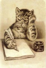 Thinking Of You. Edwardian Illustration Cat Card.