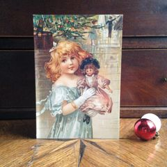 £1 Christmas Card!!! 'The New Doll' Traditional Victorian Christmas Card Repro