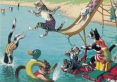 Summer Slide. Bright Vintage Illustration Greeting Card of Cats in the Swimming Pool.