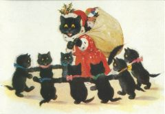 A Visit from Father Christmas! Vintage Black Cat Illustration Christmas Card