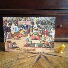 £1 Christmas Card!!! 'The Animals Circus' Unusual Vintage Christmas Card Repro.
