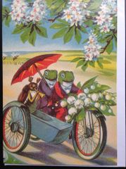 'The Frogs' Day Out' Lovely Vintage Greeting Card Repro