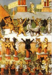 'Cats Theatre' Fantastic Vintage Cat Greeting Card Repro. Illustration by Louis Wain.