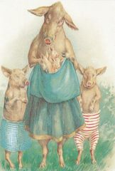 £1 Card!!! 'The Proud Mother' Vintage Pig Illustration Greeting Card.