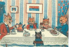 £1 Card!!! 'Tea Time' Superb Vintage Cat Greeting Card. Illustration by Louis Wain.