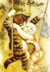 The Swinging Couple. Affectionate Vintage Cat Illustration Greeting Card