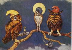 'A Night Cap' Vintage Owl Illustration Greeting Card Louis Wain Repro