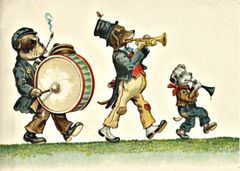 'Vagabond Band' Vintage Dog Musician Illustration Repro Greeting Card