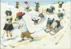 Winter Sports. Vintage Dachshund Christmas Card Repro