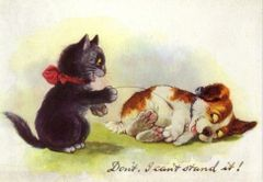 'Don't, I Can't Stand It!. Vintage Cat and Dog Illustration Greeting Card (with dog!)