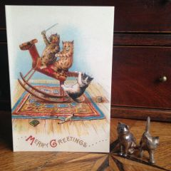 £1 Christmas Card!!! 'Merry Greetings' Vintage Louis Wain Cat Greeting Card Repro.