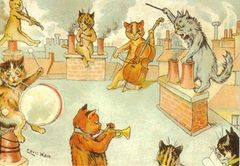 The Rehearsal. Louis Wain Illustration Greeting Card.