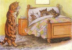 The Doctor's Visit. Louis Wain Illustration Greeting Card.
