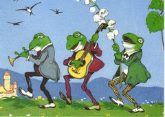 'The Wandering Minstrels' Vintage Frog Greeting Card featuring Frog Musicians